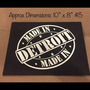 """Other - New """"Made In Detroit"""" Canvas Art black and white"""